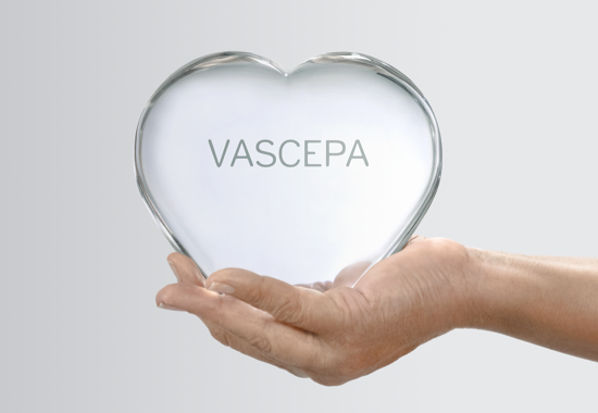 Hands holding a clear VASCEPA® (icosapent ethyl) heart